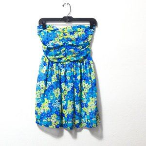 Shana Floral Strapless Tunic Top M